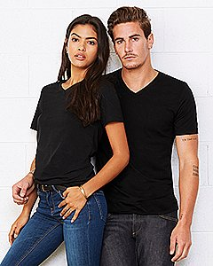 Bella mens Unisex Jersey Short-Sleeve V-Neck T-Shirt 3005 -RED-M